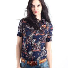 Vintage 70's Navy Blue Psychedelic Wing Collar  Top  by Ramaci