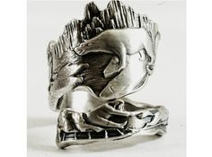 Recycled silver spoon transformed into Alaska ring: features a polar bear, walrus and dogsled team...
