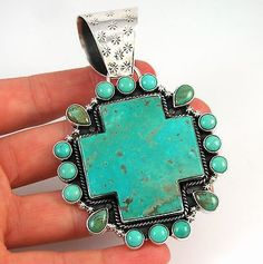 Large-DAN-DODSON-Southwestern-Handamde-Sterling-Silver-Turquoise-Cross-Pendant-J