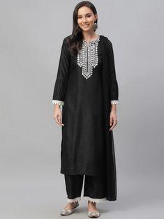 Black & White Solid Kurta with Palazzos & Dupatta Indian Dresses For Girls, Girls Dresses, Patiala Suit, Anarkali Suits, Black Silk, Black And White, Gown Suit, Salwar Kameez Online, Black Thread