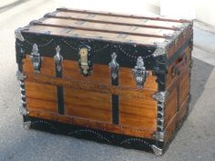 1880s Jas Mathieson Antique Travel Trunk. See more trunks, get information, and purchase one of these at hmsantiquetrunks.com