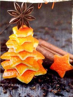 Segnaposti natalizi con le bucce d'arancia