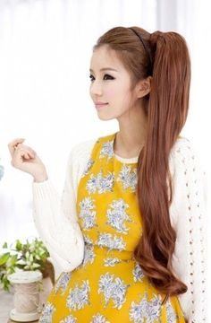 A very long side ponytail paired with a delicate headband. on The Fashion Time http://thefashiontime.com/5-best-korean-hairstyles-long-hair/#sg18