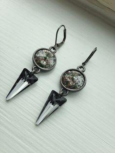 Silver Elan, Dangle Gun Metal Earrings with Swarovski Crystals by FARFELLY