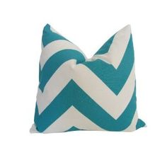 Amazon.com: Decorative Designer Pillow Cover-18x18 inch-Teal & White Large Chevron: Home & Kitchen