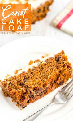 You'll love how easy and delicious this Carrot Cake Loaf recipe is. It's topped with my favorite recipe for fluffy cream cheese frosting! Carrot Cake Loaf, Easy Carrot Cake, Loaf Cake, Pie Cake, Loaf Recipes, Snack Recipes, Dessert Recipes, Cake Recipes, Delicious Recipes
