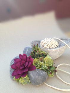 succulent felt plant arrangement by miasole on Etsy