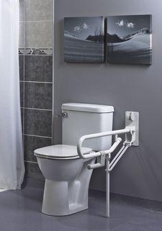 Barre d appui wc pro pied fixe - La salle de bains : matériel pour handicapés ou personnes agées