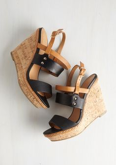 Keep Up the Good Cork Wedge in Noir. Maintain your marvelous reputation in these light brown wedges! #black #modcloth