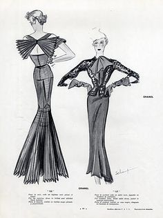 Chanel 1934 Black Taffetas Evening Gown, Schompré