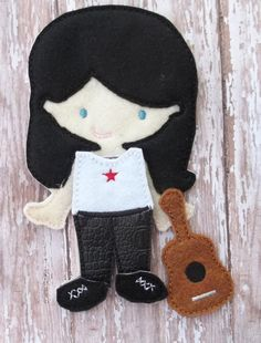 """Rockerl Dress Up Outfit and guitar from my """"Unpaper Felt Dolls Share"""" collection Listing for doll clothes outfit only fits girls too by cabincraftycreations on Etsy"""