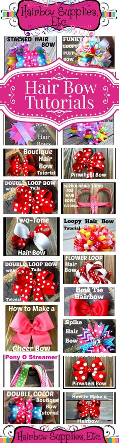 Over 50 FREE Hair Bow Tutorials Hair Bow Instructions made easy by Hairbow Supplies Etc. Simple to Making Hair Bows, Diy Hair Bows, Diy Bow, Bow Making, Baby Bows, Baby Headbands, Flower Headbands, Flower Clips, Funky Bow