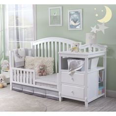 Sorelle Classic style Berkley Convertible Crib and Changer with fluting and gently curved front and back panels. The crib and changer convert into Toddler Bed, Daybed and finally a Full-size bed. The toddler and adult rails are not included. Baby Boy Rooms, Baby Bedroom, Baby Cribs, Nursery Furniture Collections, Baby Room Furniture, Rustic Furniture, Baby Nursery Decor, Baby Decor, Woodland Nursery