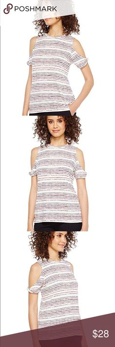 Ivanka Trump cold shoulder top allover striped NWT Ivanka Trump   Flaunt flattering style in this feminine beauty.  Matte jersey cold shoulder top boasts an allover striped design.  Round neckline. Short sleeves. Straight hemline.  95% polyester, 5% elastane.  Imported.  Measurements: Length: 24 in Product measurements were taken using size SM Ivanka Trump Tops Tees - Short Sleeve