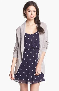 Cozy cardi + Navy polka dot dress