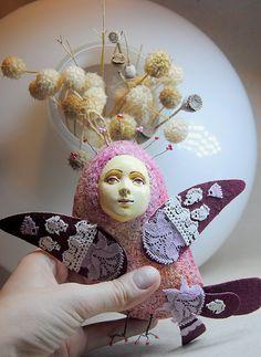 Sirin bird lilac OOAK Art Doll-pendant interior, Handmade, Papier mache by JuliasArtStore on Etsy