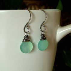 Silver Oxidized Aqua Blue Chalcedony Earrings by KDTwistedElements, $36.00