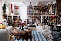 Lovely interior. Books and more books. Library.