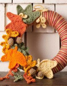 Thanksgiving Leaves Wreath   AllFreeCrochet.com