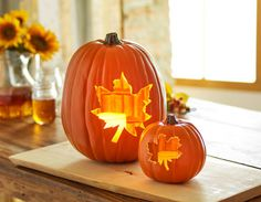 Leaf Carved Pumpkins