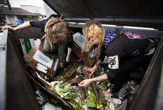 Freegans. Ben Nelms/Reuters. Mya Wollf (R), 28, and Robin Pickell, 23, who are both 'freegans', sort through a dumpster for edible food in an alley behind Commercial Drive in Vancouver, British Columbia on April 10, 2012.