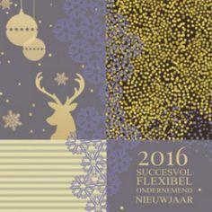Zakelijke kerstkaart gouden confetti en hert