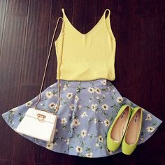 High Waisted Floral Skirt : The Art of Vintage-inspired  Cute Women's Clothing | Larmoni