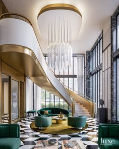 Design Trends Popping Up In The Market Today - Luxe Interiors Design Lobby Design, Design Hotel, House Design, Restaurant Design, Luxury Interior Design, Contemporary Interior, Interior Architecture, Interior Stairs, Interior And Exterior