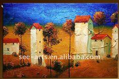Moderna casa de pueblo pintura con textura de la lona de pintura ...