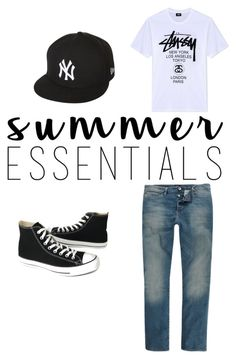 """""""Untitled #10"""" by nanalexia on Polyvore featuring Stussy, Converse, River Island, New Era, men's fashion, menswear and summermenswearessentials"""