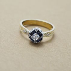 Art Deco Inspired Blue Sapphire and Diamond Ring 18k by JdotC