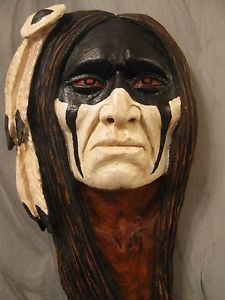 Native American Indian Wood Carvings | Wood Carving Wood Spirit Native American Indian Battle Dress | eBay