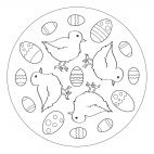 Easter chicks manadala for preschoolers and kindergartners to print and color from www.kigaportal.com