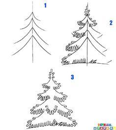 kids learn how to draw a fir tree   crafts & creativity. Basteln & Kreativität . bricolage & creativité   @ e-papa  