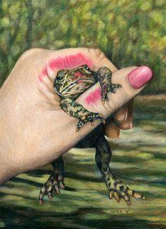 The Wrong One - Princess kissing Frog at http://www.etsy.com/listing/91892583/the-wrong-one-princess-kissing-frog-art