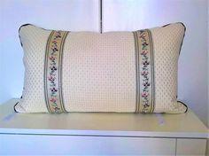 Decorative pillow cover beige flower trim elegant romantic 16X25 bedroom cushion cover