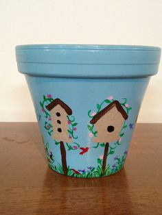Hand Painted 6 inch Decorative Flower Pot  by DayDreamingDecor, $20.00