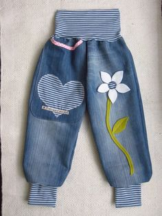 Jeans Blume upcycling UNIKAT Pumphose 104 110 116
