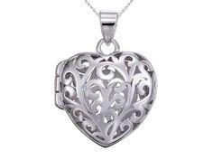 Sterling Silver Rhodium Heart Filigree Locket Pendant Chain Included >>> Want to know more, click on the image.