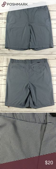 Greg Norman size 34 golf shorts black checks Inseam 10.5 inches Rise 11.5 inches Waist 17.5 inches Great shape! greg norman Shorts Athletic