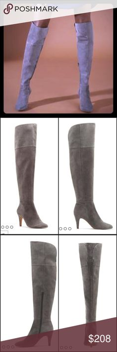 "NWB Vince Camuto Gray Suede OTK Boot Who can refuse a sexy boot that can be worn two ways? Has a flexible cuff which can straighten or fold over.  From the heel to the top of the shaft, this entire shoe is covered in a single hue of suede or leather. - 3"" heel - 22"" shaft height; 15"" calf circumference - Leather or suede upper, man-made lining and sole ** BRAND NEW IN BOX!!  I'M 5'3"" AND THEY CAME UP TOO HIGH ON ME!!  BOX IS LARGE AND HEAVY, SO I WILL HAVE EXTRA SHIPPING COSTS.  REASONABLE…"