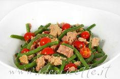 Particolare insalata di fagiolini tonno e pomodorini