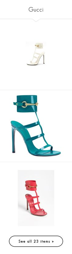 """""""Gucci"""" by katiasitems on Polyvore featuring shoes, sandals, heels, white shoes, gucci footwear, heeled sandals, gucci, gucci sandals, turquoise and turquoise sandals"""