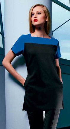 SJ Colour Block Tunic Price:£21.99 (£26.39 Including VAT at 20%) Beauty Uniforms, Color Blocking, Colour Block, Work Wear, One Shoulder, Tunic, Blouse, Black, Tops