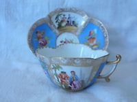 Dresden  Quatrefoil Hand Painted Figural Scenic Cup Saucer