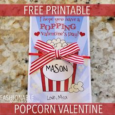 My Fashionable Designs: Free Printable: Popcorn Valentine Valentine Gifts For Kids, Homemade Valentines, Valentine Day Crafts, Love Valentines, Valentine Activities, Valentine Nails, Valentine Ideas, Kids Gifts, Diy Gifts Cheap