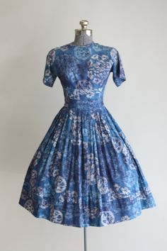 1950's Blue Hawaiian Print Cotton Dress