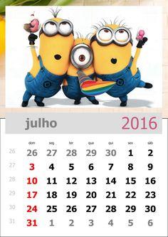 calendário dos minions mês de julho de 2016