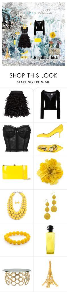 """A yellow kick"" by flowerbud77 on Polyvore featuring moda, Alice + Olivia, Yves Saint Laurent, Dolce&Gabbana, Rocio, Gucci, Kenneth Jay Lane, Kim Rogers, Whiteley y Hermès"