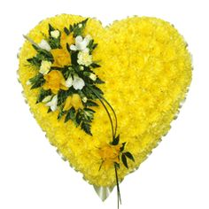 Funeral Flowers Yellow Funeral Heart Tribute Funeral Flowers Y